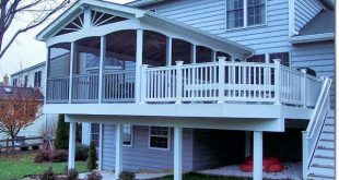 Extended elevated deck with half enclosed in screen room ...