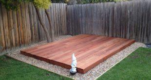 Ground level garden deck, made from Merbau wood.