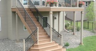 I like the way the stairs fit with the deck; not sure if I like the large landin...