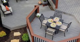 With the look and feel of wood, TimberTech decking in Silver Maple provides the ...