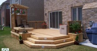 Medium, low, 1-level deck with bench, planters, privacy screen, and pergola (#1R...