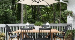 Modern Country Colonial Deck Styling tips and inspiration. #outdoor #deck #decor...