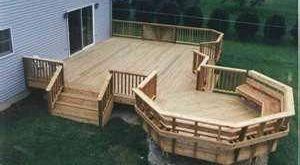 Multi Level Deck with starburst rails and angle bench in octagon level #deckfram...