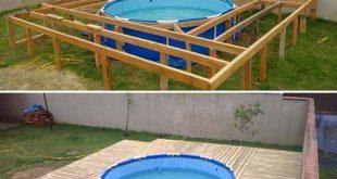 Über dem Boden Pool Deck | Top 19 einfache und kostengünstige Ideen für den B...