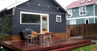 great small back deck w/ string lights