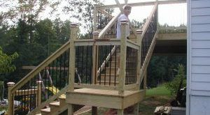 Deck Stair Design With Landing Planning And Building Wood Deck ...