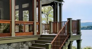 Handsome elevated deck with under deck screened room and adjoining open porch de...