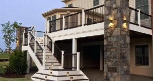 Image result for ideas for long deck stairs