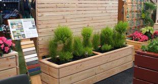 Pflanzkasten Holz Lang L mit Sichtschutz, Oberfläche: Natur, wetterfestes Holz,...