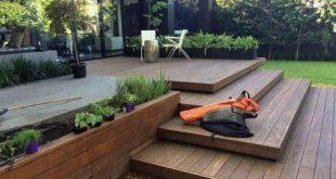 Wood Backyard Deck With Stairs Ideas #backyardpatio